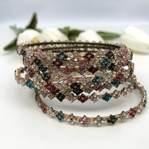 Set of 8 Vintage Colorful Rhinestone Bangles